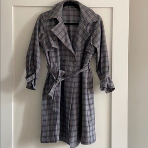 Plaid Trench Coat with Belt NWOT